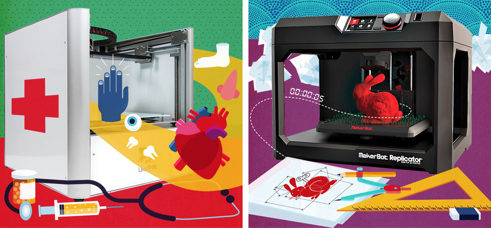 Office Depot: Illustration with product photography on 3D printing trends