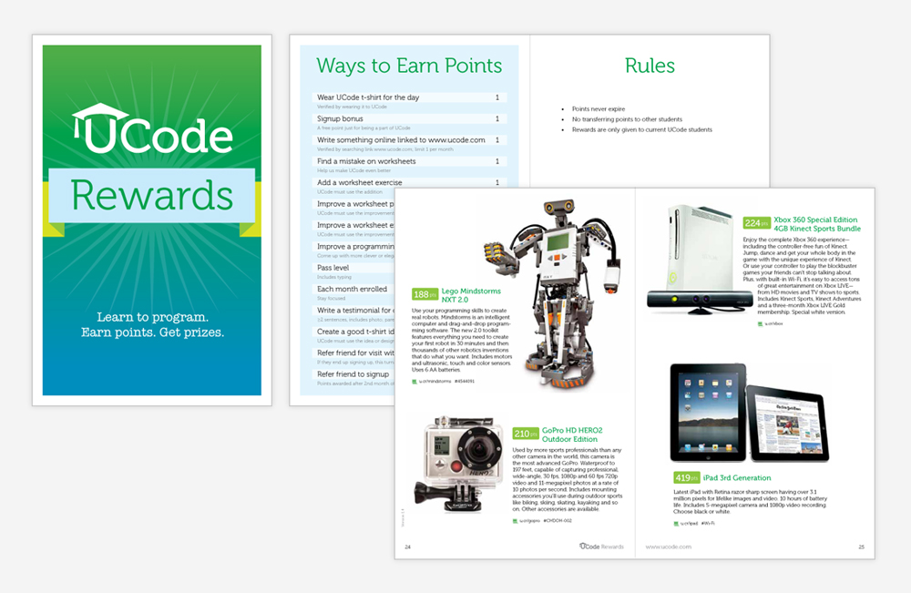 UCode rewards catalog